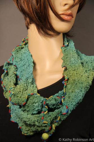 Teal/green silk bubble circle scarf