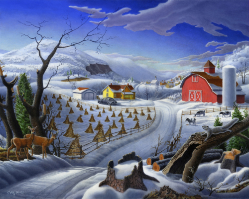 Rural Winter Country Farm Folk Art Landscape