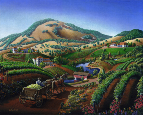 Old Wine Country Landscape, Delivering Grapes To Winery, Vintage Americana