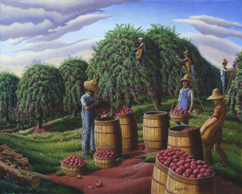 Apple Harvest, Autumn Farmers Orchard Farm Landscape, Folk Art Americana