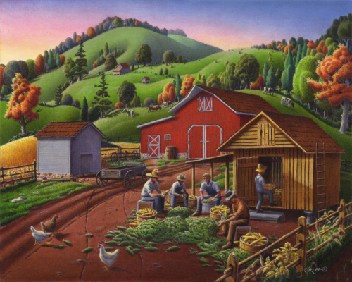 Folk Art Americana, Farmers Shucking Harvesting Corn Farm Landscape, Autumn Rural Country Harvest