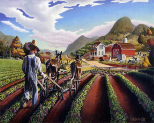 Cultivating Peas Farm Farming Landscape, Appalachian Folk Art, Summer Farmer, Americana