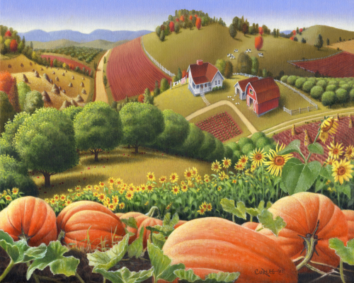 Fall Pumpkin Patch Farm Landscape, Autumn Rural Country Pumpkins, Folk Art, Appalachian Americana