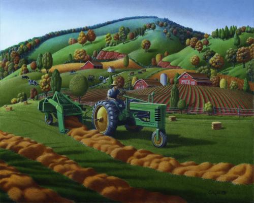 Rustic John Deere Farm Tractor Baling Hay, Rural Country Folk Art Landscape, Summer Americana