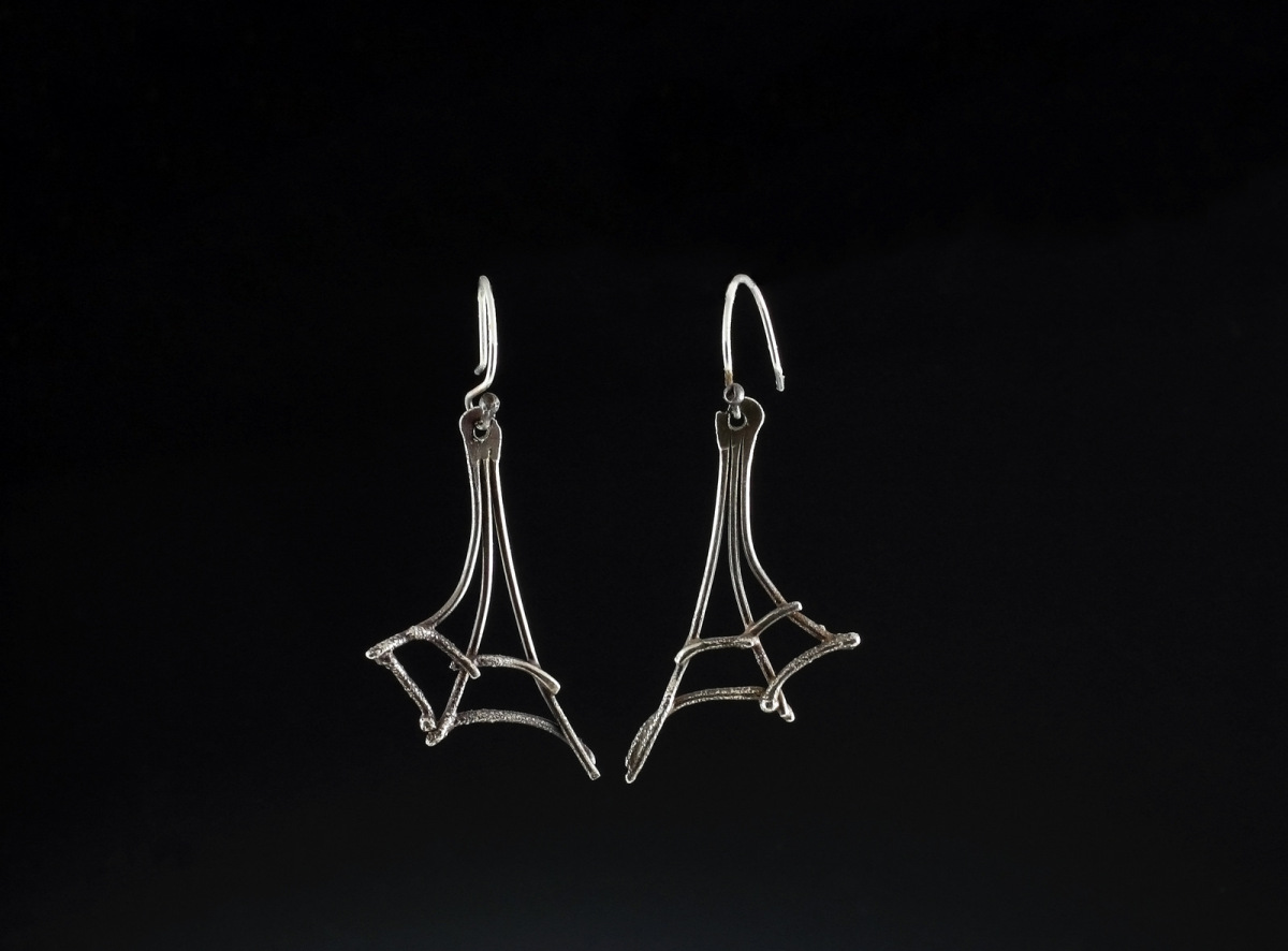 simple and graceful web earrings to wear anytime , hand fused sterling silver,each pair one of a kind (large view)