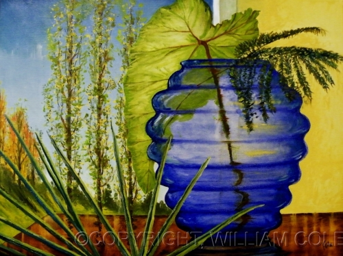 Blue Rippled Vase