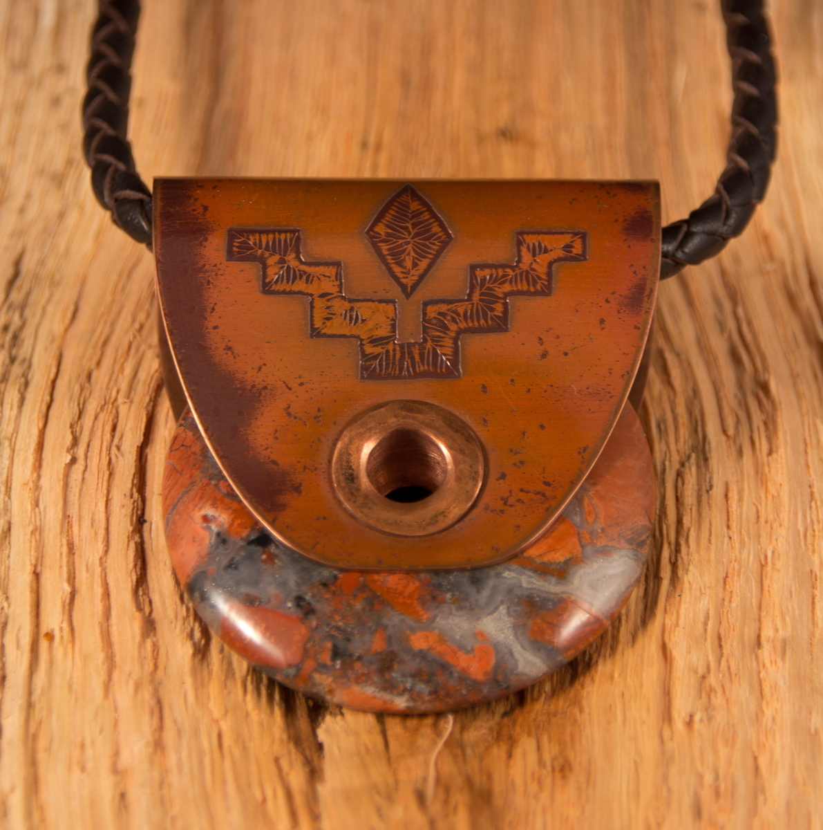 "Copper & Jasper ""Crowstep"" Pendant (large view)"