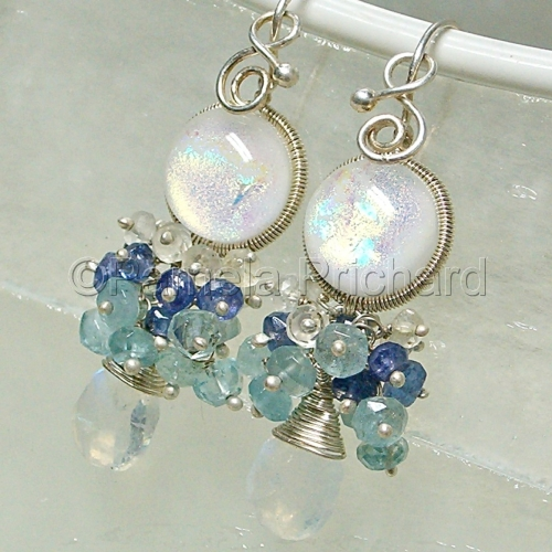 Danika, Wire Wrapped Dichroic Glass Earrings (large view)