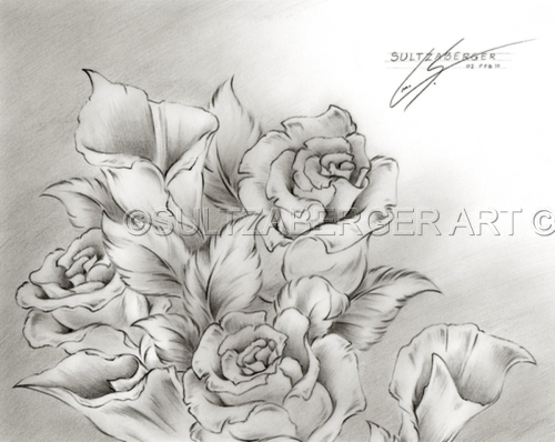 Rose Bouquet Drawing Drawings of Roses
