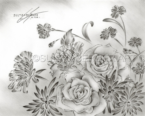 Graphite pencil drawing of roses daisies and carnations 8H x 10W