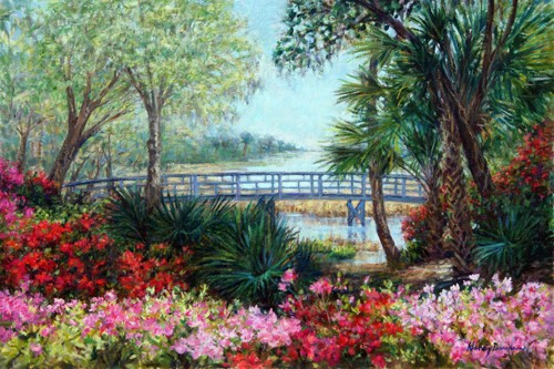 The Footbridge at Magnolia Plantation  by NANCY DAVIDSON