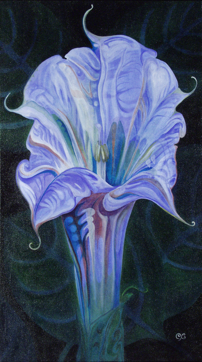Painting Moon Lily Original Art By Peggy Clark Lumpkins