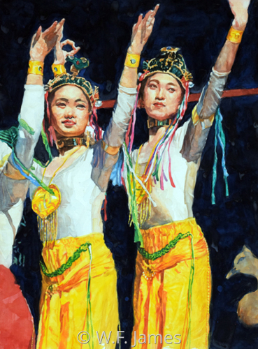 CHINESE DANCERS IN YELLOW by W.F. James Studio