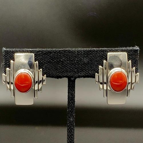 Red Coral Navajo Rug Earrings