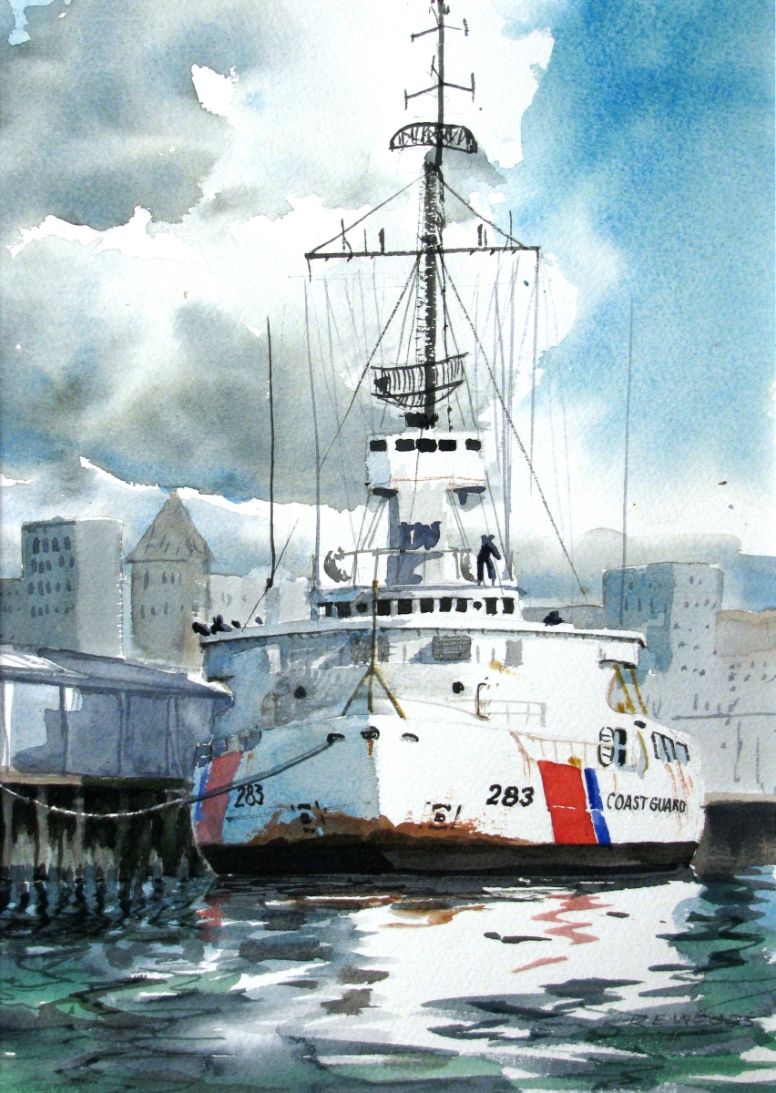 USCGC Burton Island moored on the Seattle Waterfront in the 1960's (large view)