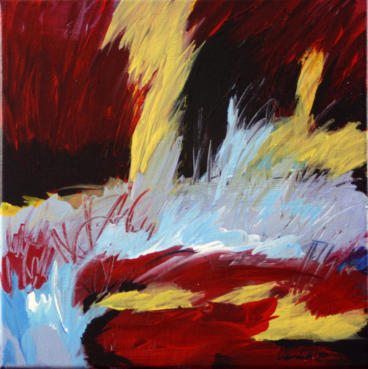 colorful energetic abstract landscape painting in blue, red and gold (large view)
