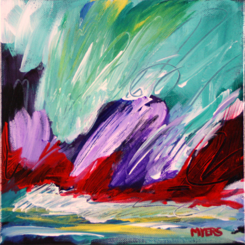 Purple Forms with Green by Wendell Myers