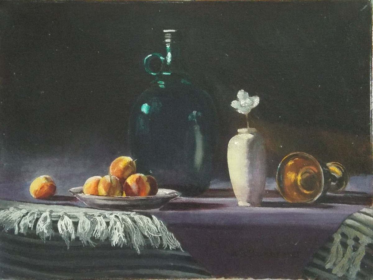 Still Life With Peaches and White Vase (large view)