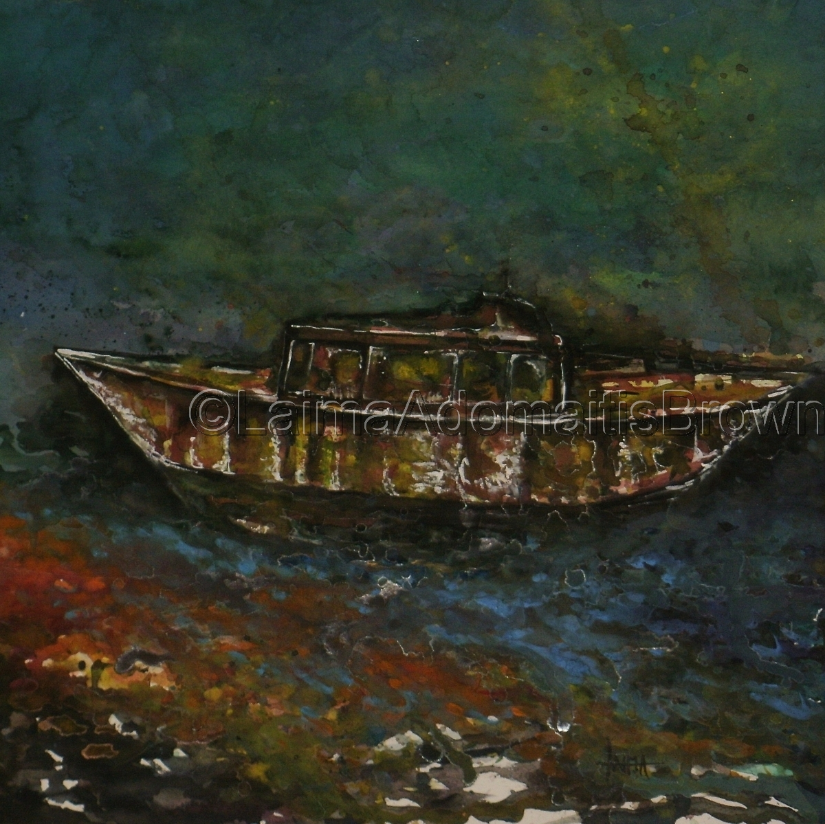 funky rusty old boat seascape watercolor painting (large view)