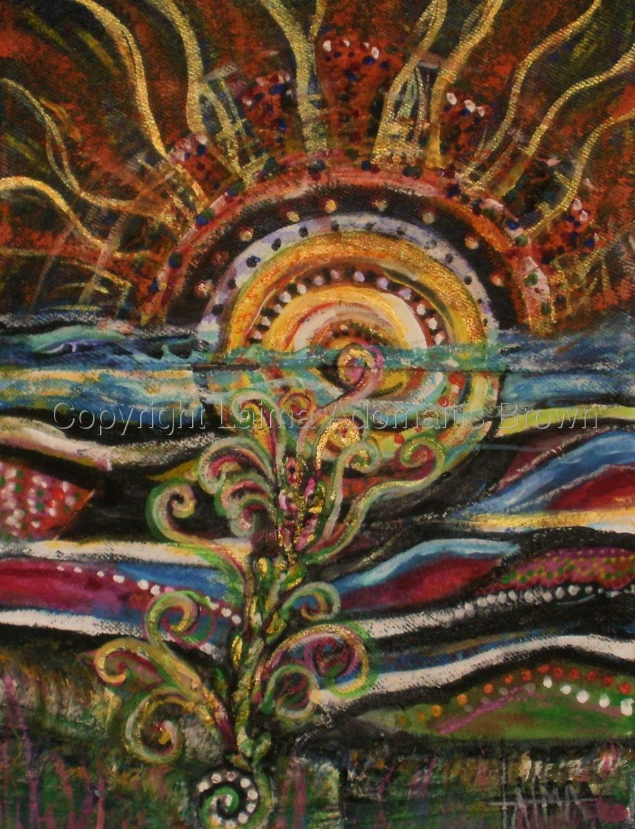 SunSea (eco collage/ recycled jeans as canvas) (large view)