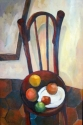 OIL PAINTING, RUSSIAN ARTIST, APPLES, CHAIR, STILLLIFE - Impressionism Painting