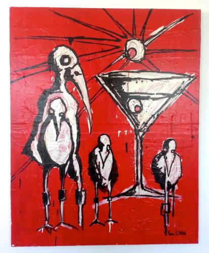 martini birds on red