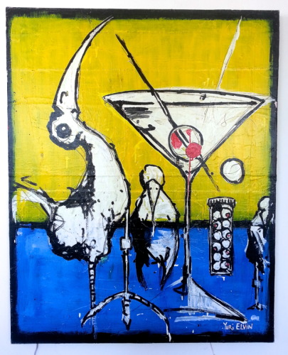 martini birds on yellow and blue