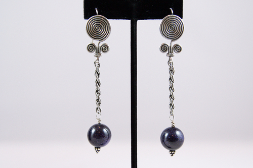 Blue Goldstone, Chain and Sterling Silver Earrings jz603
