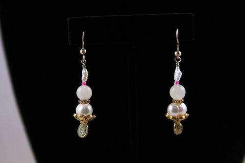 Pearl, Citrine, Gold Vermeil Earrings  jz609